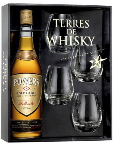Coffret + 4 Verres - Powers Gold Label - Whisky Irlandais - Chai N°5