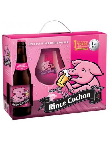 Coffret Rince Cochon Rouge 33 cl 4 Bouteilles + 1 Verre + 4 Sous Bock - Chai N°5