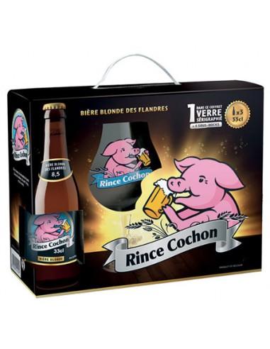 Coffret Rince Cochon Blonde 33 cl 4 Bouteilles + 1 Verre + 4 Sous Bock - Chai N°5
