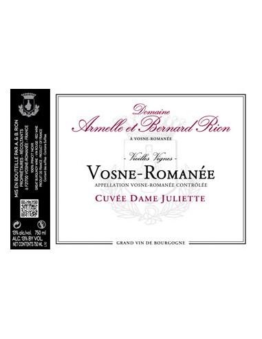 Vosne-Romanée Vieilles Vignes - Cuvée Dame Juliette - 2013 - Domaine A. & B. Rion - Chai N°5